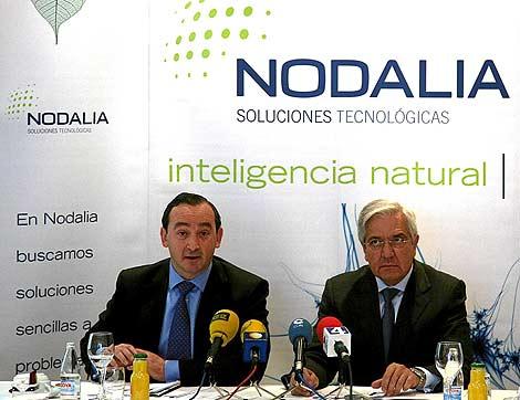Juan Valentín-Gamazo y Juan Posadas, el día que informaron de la fusión de sus sociedades para crear Nodalia. (Foto: Ical)