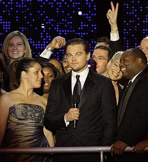 DiCaprio en el baile inaugural. (Foto: AP)