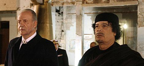 El Rey y Gadafi, en la antigua residencia del líder libio | AFP