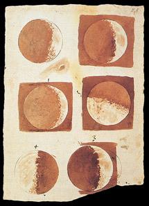 Fases de la Luna, dibujadas por Galileo. | El Mundo