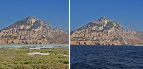 Recreación de las cuevas donde vivían los neandertales en Gibraltar, hace 24.000 años (a la izquierda) y su aspecto actual (derecha). | Museo de Gibraltar