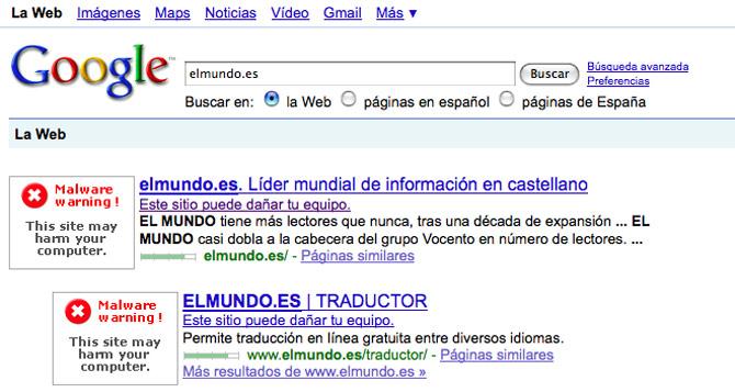 elmundo.es, peligroso para los internautas según Google.