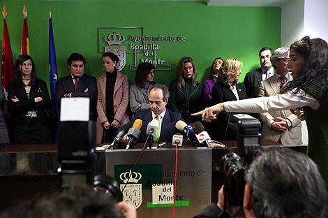Arturo González Panero, durante la rueda de prensa en el ayuntamiento de Boadilla. | Antonio M. Xoubanova