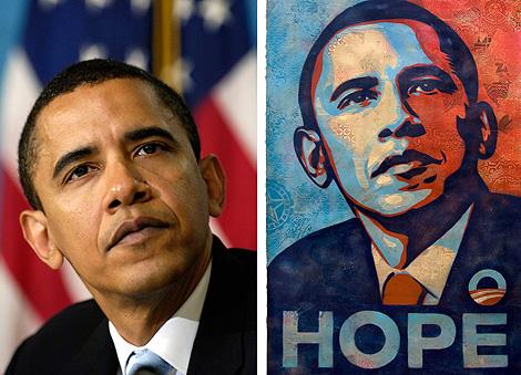 La fotografía de AP y el cartel de Shepard Fairey.