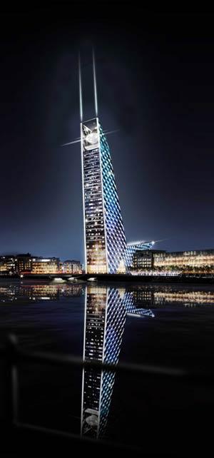 El proyecto situaba la torre en el puerto de Dublín. | elmundo.es