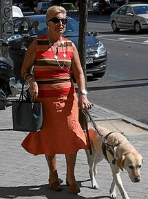 Una mujer con su perro guía.  | A. Cuellar