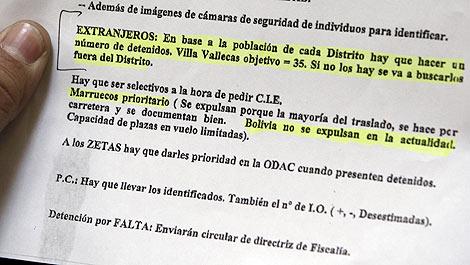 Documento interno de una comisaría en el que se pide un nº mínimo de detenciones. | Efe