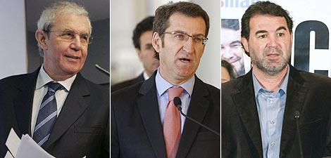 Los candidatos Touriño (PSOE), Feijóo (PP) y Quintana (BNG). | Agencias