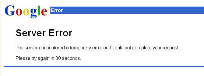 Captura del error que ha dado Gmail a millones de usuarios.