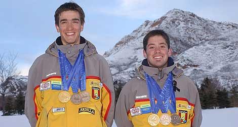 Santacana junto a su guía en los Juegos Paralímpicos de Salt Lake City. | Efe
