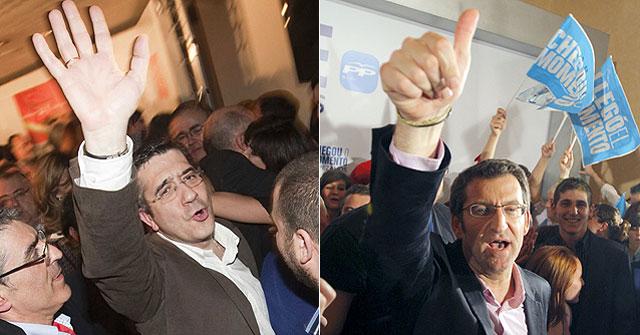 Patxi López, izda. y Alberto Núñez Feijóo, celebran sus resultados electorales. | Iñaki Andrés | Efe