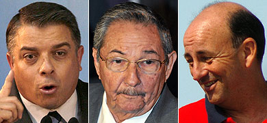 De izq. a dcha., Pérez Roque, Castro y Lage. | Fotos: Reuters | Efe