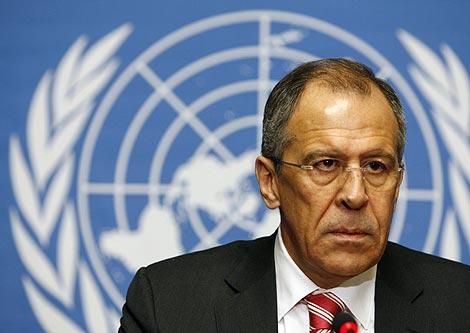 El ministro de Exteriores ruso Sergei Lavrov durante su discurso de hoy.   Reuters