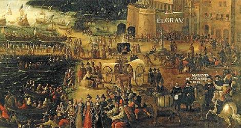 Fragmento de la pintura de Pere Oromig sobre el 'Embarque de moriscos en el Grao de Valencia'.