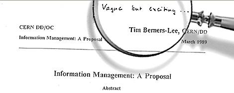 Detalle de la propuesta original de Tim Berners-Lee: 'Vago, pero emocionante...'. | CERN
