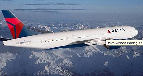 Un Boeing 777 de la companía Delta Airlines.