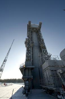 Plataforma de lanzamiento del satélite GOCE. / ESA
