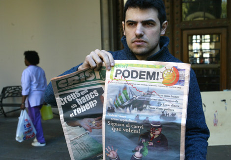 Enric Duran, en la Universitat de Barcelona, donde ha sido detenido.   Domènec Umbert