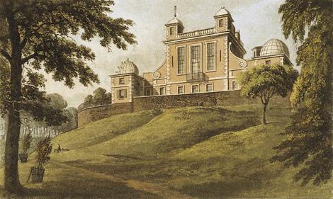 El Observatorio de Greenwich en una pintura de Thomas Hosmer Shepherd (1824). | Wikipedia commons.