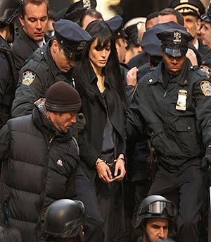 Jolie, durante el rodaje de 'Salt'.