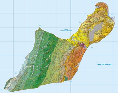 Mapa de la Isla de Marambio, en la Antártida, realizado por científicos españoles. / IGME
