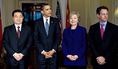 Hu Jintao, Barack Obama, Hillary Clinton y Timothy Geithner, en Londres. |AFP