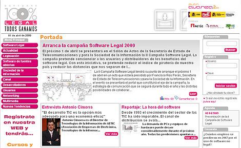 Página web de la nueva campaña por el 'software' con licencia.