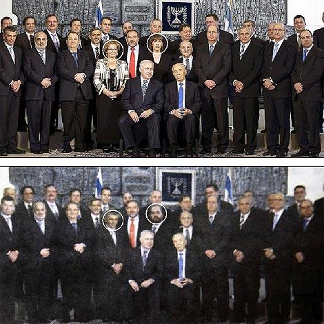 La foto original del Gobierno israelí y el montaje sin las ministras que apareció en el diario 'Yated Ne'eman'. / POOL