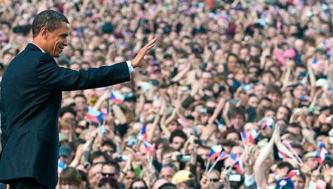 Obama, tras pronunciar su discurso en Praga.   Afp