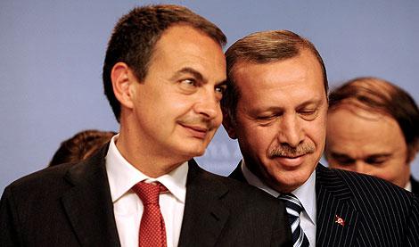 Zapatero y Erdogan, en la rueda de prensa. | Afp