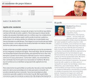 Captura del blog de Pepe Blanco.