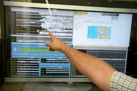 Monitorización de actividad sísmica en el Instituto Sismográfico Nacional . Foto: K. Para