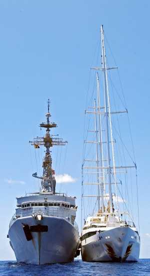 El velero Le Ponant, recién liberado de piratas somalíes por la Marina francesa. Afp