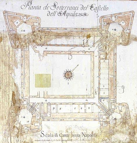 Planta del siglo XVIII de las galerías subterráneas de la fortaleza de L'Aquila.