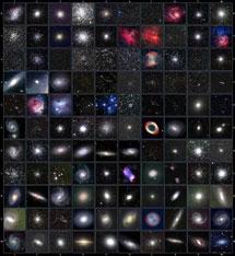 Imágen de los 110 objetos de Messier. | Wikipedia commons