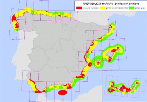 Mapa elaborado por Medio Ambiente e Industria con las zonas aptas para la energía eólica marina. (Imagen. MMRM)