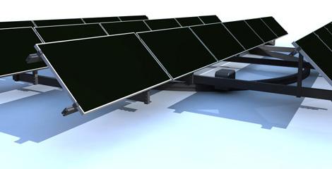 Sistema para que las placas fotovoltaicas giren siguiendo al Sol. (Foto: Genera 09)