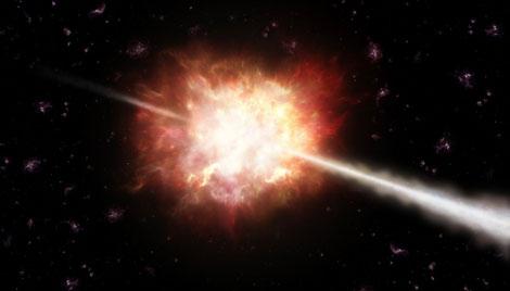 Recreación artística de la explosión de rayos gamma. | ESO