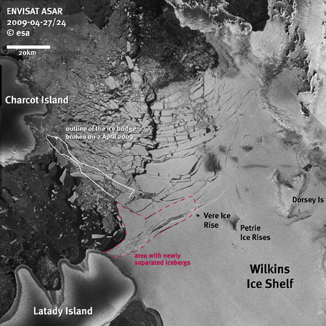 Fragmentación del puente de la plataforma Wilkins. | ESA