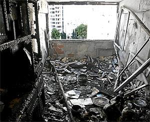 Estado en el que quedó un piso de Benidorm tras un incendio donde murieron dos ancianos | L. H.