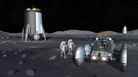 Recreación artística de la futura base lunar proyectada por la NASA.   NASA