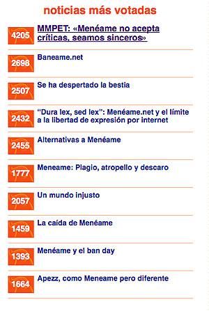El resumen de noticias más votadas en la portada de Menéame en el apogeo de la protesta.