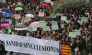 Manifestación en Mallorca contra la obligación de saber catalán en la sanidad balear.   Cati Cladera