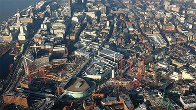Vista aérea de las obras de Liverpool One, el gran proyecto urbanístico de la ciudad. | elmundo.es