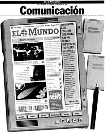 Imágen de la página publicada en EL MUNDO el 12 de marzo de 1993, con una predicción futurista del Kindle