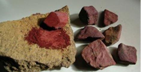 Tinte rojo adhesivo utilizado en la Media Edad de Piedra. /PNAS