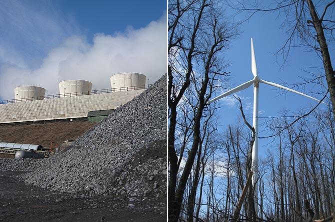A la izquierda, la Central Térmica de Cambria Cogen y a la derecha, el Parque Eólico de Allengheny.