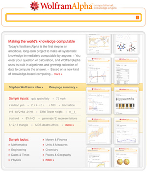Página principal de Wolfram|Alpha.