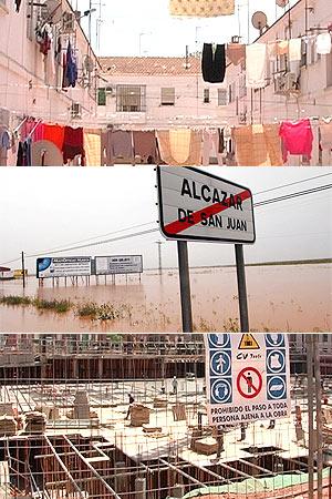 Arriba: Barrio Hermanos Laguna inundado. Abajo: Obras de la nueva urbanización.