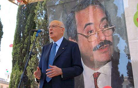 El presidente de la República, Giorgio Napolitano, durante el homenaje. | Efe